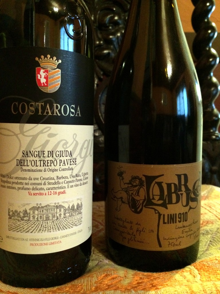 Left, Giorgi Costarosa Sangue di Guida; Right, Lini Lambrusco 910